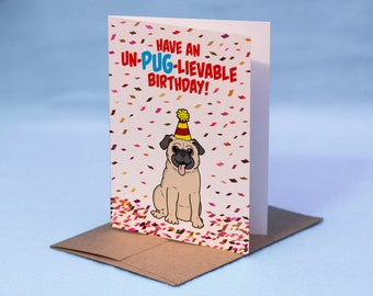 Pug Birthday Card - Pug Card - Dog Birthday Card - Cartoon Pug Birthday Greeting Card - Dog Card