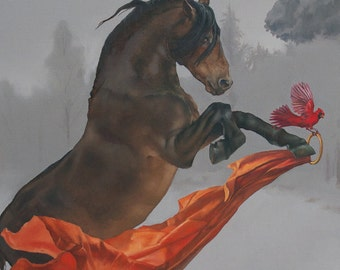 Brass Ring - horse and cardinal - 12 x 18 art print of an oil painting - equestrian art