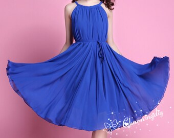60 Colors Chiffon Blue Knee Skirt Party Dress Evening Wedding Lightweight Sundress Summer Holiday Beach Dress Bridesmaid Dress Skirt