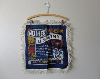 VINTAGE 1940s wwii era PILLOW COVER - u.s. army - aaf scribner, neb.