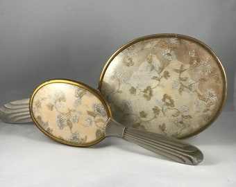 Vintage Brush and Mirror Set with Lace insert