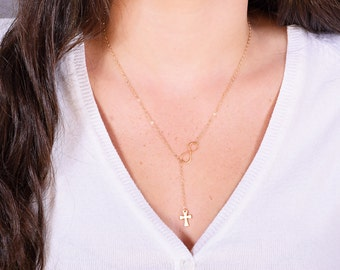 Gold Crucifix and Infinity Lariat, Gold Crucifix Necklace. Gold Necklace, Cross and Infinity, Confirmation Necklace, Confirmation Jewelry