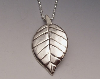 Leaf Pendant made from Silver Half Dollar Coin