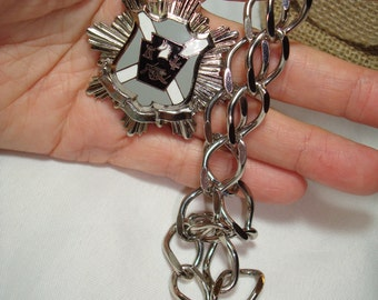 Vintage Large silver Tone with Black Gray and White Enameling Military Crest Medallion Necklace.
