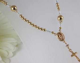 14K Gold Catholic Rosary Necklace