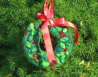 Needle Felted Christmas Tree Ornament- Wreath