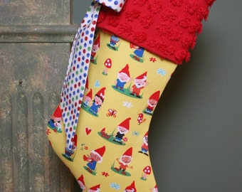ON SALE - Whimsical Jolly Garden Gnome Stocking - Vintage Chenille Cuff