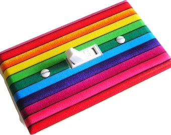 RAINBOW STRIPES Light Switch Cover Plate Switchplate Gay Pride Decor