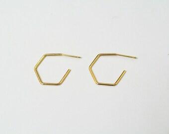 Gold hexagon hoop earrings, thin hoop earrings, geometric earrings, minimalist, simple