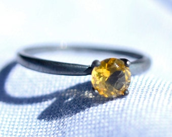 Citrine Ring in Sterling Silver, Bridesmaids Gifts, Golden Citrine Gemstone Ring, November Birthstone