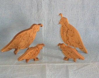 Quail Family Scroll Saw Handmade Wooden Puzzle