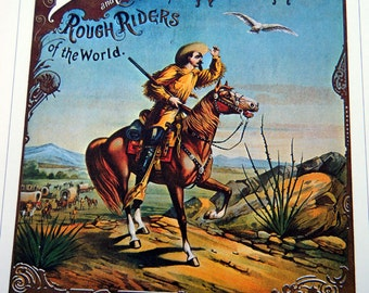 Buffalo Bills Wild West Rough Riders Vintage Circus Poster -  Vintage Book Plate