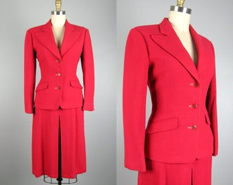 CLEARANCE // Vintage 1940s Wool Suit 40s Raspberry Pink Skirt Suit Size 4/S
