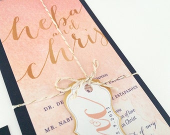 Watercolor Ombre Peach Pink Blush Gold Foil Navy Calligraphy Modern Elegant Unique Trendy Handmade Wedding Invitation