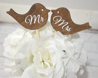 Wedding Mr and Mrs love birds cake topper- wedding cake topper-