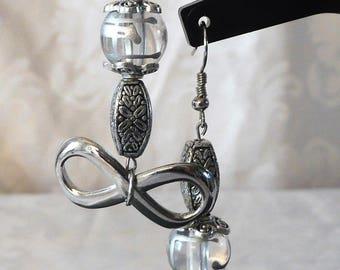 Earrings silver infinity earrings 7cm