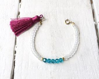 Tassel Bracelet/ Beaded Tassel Bracelet/ Beaded Bracelet/ Tassel Jewelry/ Seed Bead Bracelet