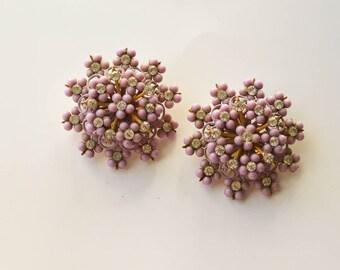 SALE 1960s Pink Earrings Vintage Pink Jewelry Rhinestones and Beads