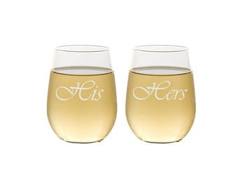 His and Hers Stemless Wine Glasses / Etched Personalized Wedding Glasses - Anniversary : Wedding Gift / Custom Engraved Glasses - Set of 2
