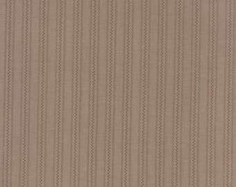 By The HALF YARD - Larkspur by 3 Sisters for Moda #44108-14 Floral Pathways - Cobblestone, Tonal Brown Stripes and a Zig Zag Stripe on Brown