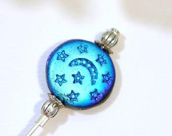 Black Moon Hijab Pin Small Hat Pin 3 inch Moon Lapel Pin Black Sarong Pin Scarf Pin Black Beaded Stick Pin Handmade