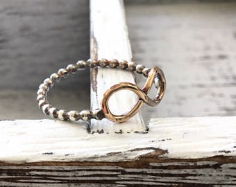 14kt Gold Infinity Ring - Forever Ring - Sterling Silver Bead Ring -Mixed Metal Ring -Gold and Silver Ring -Minimalist Ring -Friendship Ring