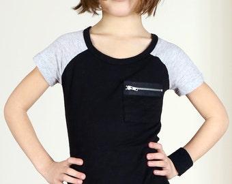 Punk Rock Kids' Raglan Sleeve Tee with Zipper Pocket