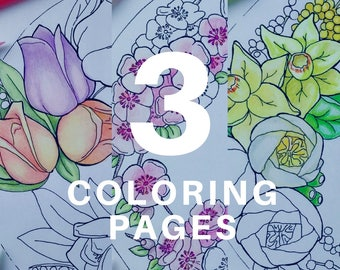 Adult coloring pages | Cake coloring pages for adults by Olga Zaytseva - Spring Flowers vol 2 Pack of 3 coloring pages