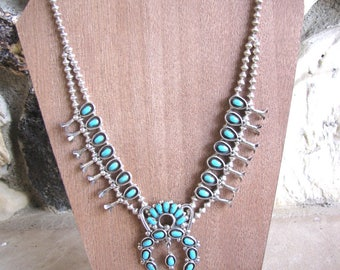 Sterling Silver Turquoise Zuni Squash Blossom Necklace and Earring Set Native American Old Pawn Boho Navajo Jewelry Weebothee Signed
