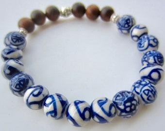 Ceramic Bracelet, Ceramic Bead Bracelet, White & Blue Ceramic Bracelet, Sandalwood Bracelet, Blue and White Ceramic Beads, Asian Motif Beads