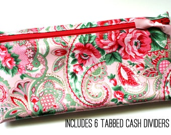 Cash budget wallet   6 sturdy cash dividers   pink and green paisley laminated cotton