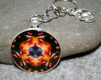 Mandala Purse Charm Tulip Keychain Boho Chic Sacred Geometry Bag Charm New Age Hippie Kaleidoscope Gypsy Unique Gift For Her Spring Fling