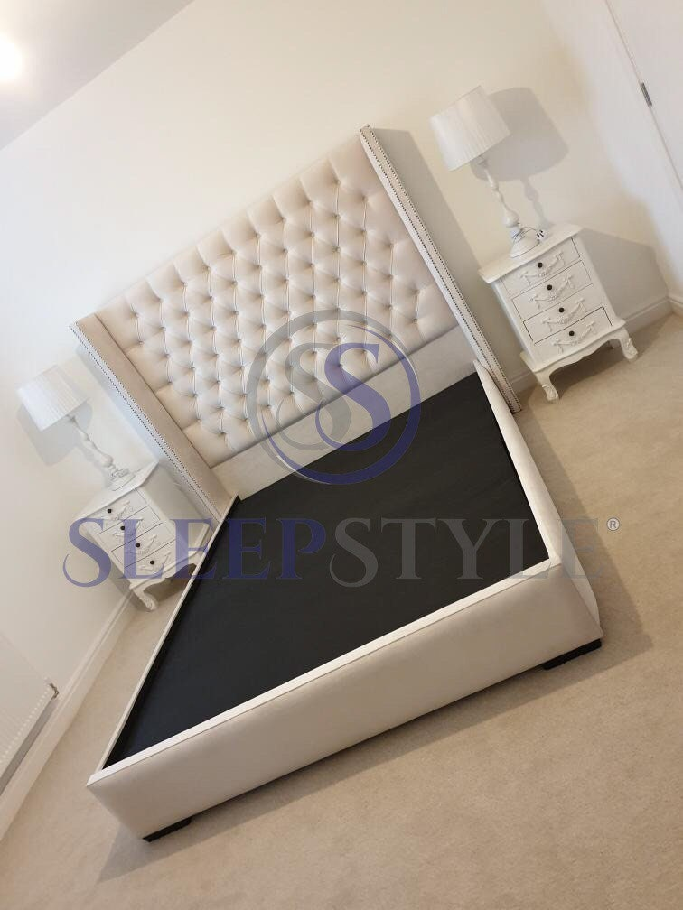 NEW Olivia Winged Chesterfield Bed Frame  Available In All Sizes, Fabric, Colour