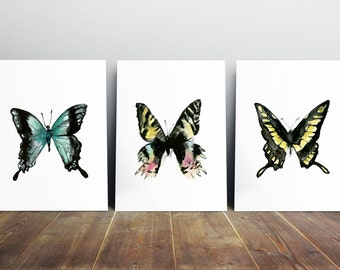 color and black Butterfly watercolor- butterfly painting - butterfly Art Print - black ink - insect illustration - butterfly drawing