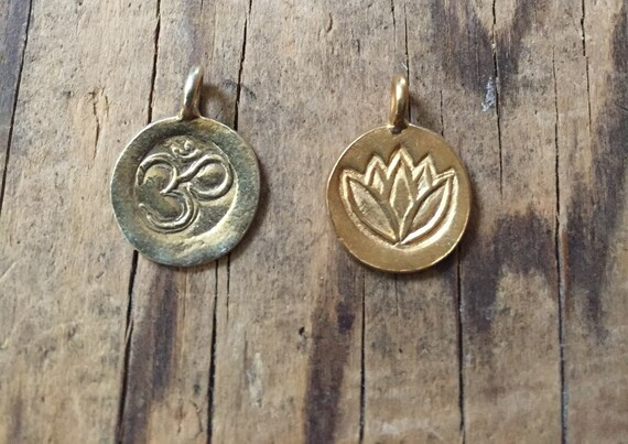 Vermeil Gold Thai Om and Lotus Charms. Add to your mala tassel.