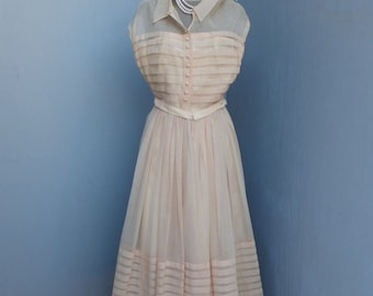 Vintage 1950s EMMA DOMB, Blush Pink, Fit and Flare, Party Dress, Bridal Dress, Circle Skirt, New Look, Prom Dress