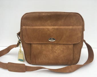 Vintage Samaonite Carryon Luggage Shoulder Bag in Caramel Brown
