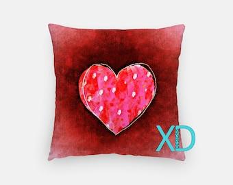 Valentine Pillow, Love Pillow Cover, Heart Pillow Case, Pink and Red Pillow, Artistic Design, Home Decor, Decorative Pillow Case, Sham