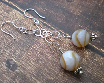 Cappuccino swirl earrings, coffee agate, sterling silver, dangle earrings, stone, unique jewelry by Grey Girl Designs on Etsy