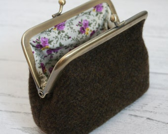 Brown tweed clasp purse with purple floral lining