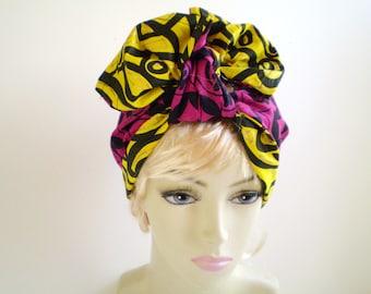 Small Fuchsia Yellow African Head Scarf, Yellow African Head Scarf, Dark Pink African Head Scarf, Reversible African Head Scarf