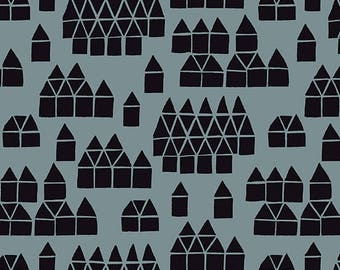 Maker Maker - Village in Grey - Sarah Golden - Andover Fabrics - Quilting Weight Linen/Cotton - Canvas/Home Dec - Fabric by the Half Yard