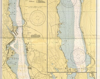 New London Harbor and Vicinity - 1942  Nautical Map Connecticut - Reprint - AC Harbors 293