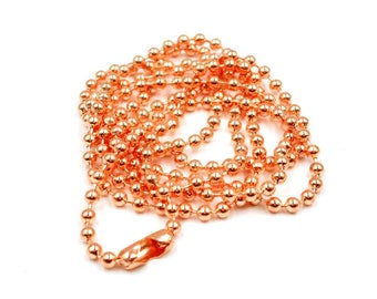 1 Rose Gold Plated 2.4mm Ball Chain - 22-25-5