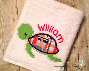 Madras Turtle Applique Beach Bath Towel - Personalized, Monogrammed