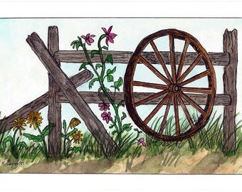 Original Pen and Ink with Watercolor Painting - Old Wooden Wagon Wheel and Rustic Fence - Not a Print