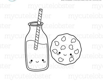 Milk & Cookie Digital Stamp Clipart - line art, outline, cute milk, cookie clip art - personal use, small commercial use, instant download