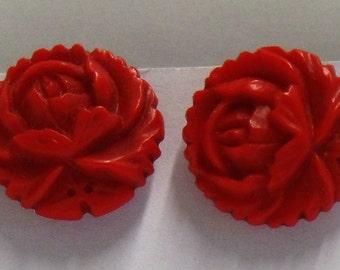 Vintage Rose Clip Earrings