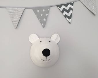 Faux Taxidermy Polar Bear Head, Fabric Wall Mounted Animal Head, nursery wall deco