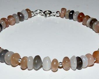 Handmade Pale Grey Moonstone And Sterling Silver Bracelet